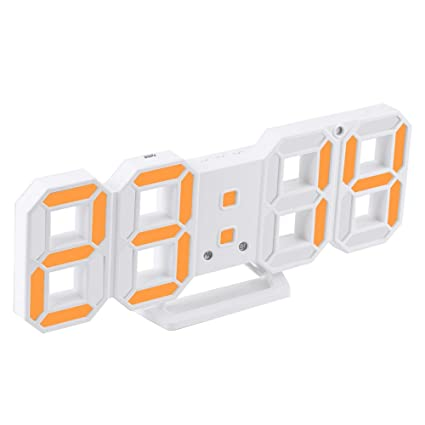 Enjoy Best Time Modern Fashion Home Minimalist LED Digital Wall Clock - Adustable Luminious Light LED Desk Alarm Clock With Temperature(Orange LED)