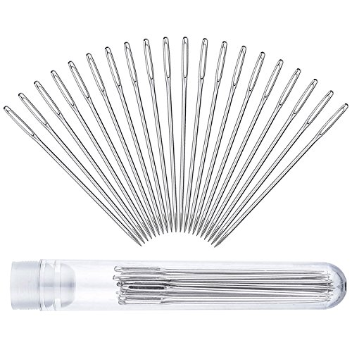 - Auvanteo 20-Pack 5.2cm Large-Eye Stitching Needles with Clear Bottle for Leather Projects