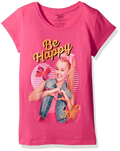 Nickelodeon Big Girls' Jo Siwabe Happy Short Sleeve T-Shirt, Hot Pink, M-8/10 Bow Girls T-shirt