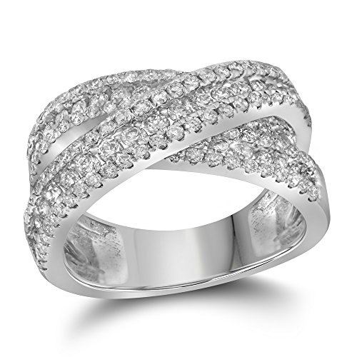14k White Gold Womens Round Pave-set Diamond Crossover Cocktail Band (1.87 cttw.)