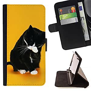 DEVIL CASE - FOR Samsung Galaxy Note 4 IV - Funny LOL WTF Cat - Style PU Leather Case Wallet Flip Stand Flap Closure Cover