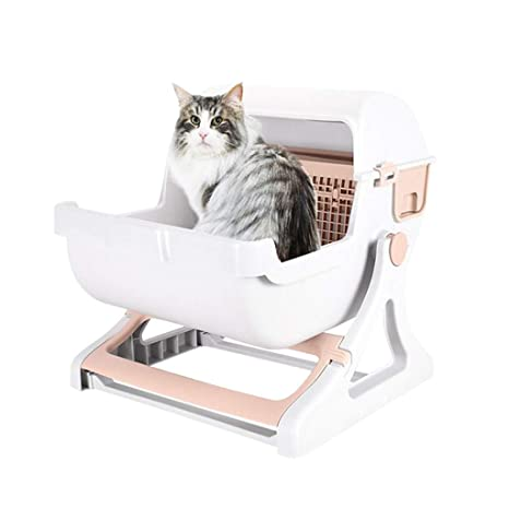 Caja de arena para gatos Bandeja de basura con tapa abatible Abierta Súper grande para ...