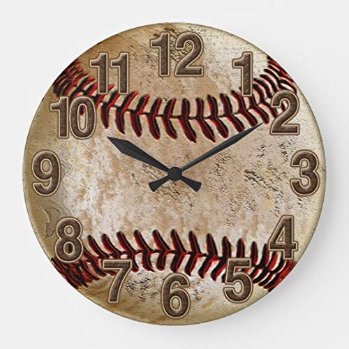 Enidgunter Cool Stone Look Vintage Baseball Large Wall Clock Decor for Bedroom Nursery Round Silent Wood Clock Art for Kids Girls Boys Room 12 inches