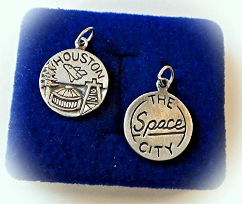 1 Sterling Silver 16mm Round says Houston The Space City Astrodome Derrick Charm Vintage Crafting Pendant Jewelry Making Supplies - DIY for Necklace Bracelet Accessories by CharmingSS -