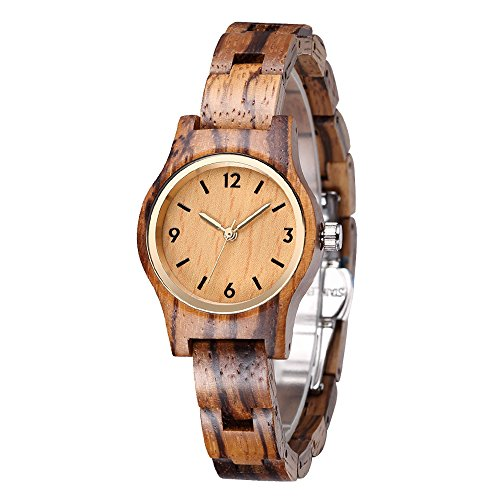 SIHAIXIN Womens Wood Watch Small Zebra Wooden Strap with Quartz Analog Movement Handmade Wooden Wristwatch for Women, Ladies, Girls - Zebra Wood by SIHAIXIN