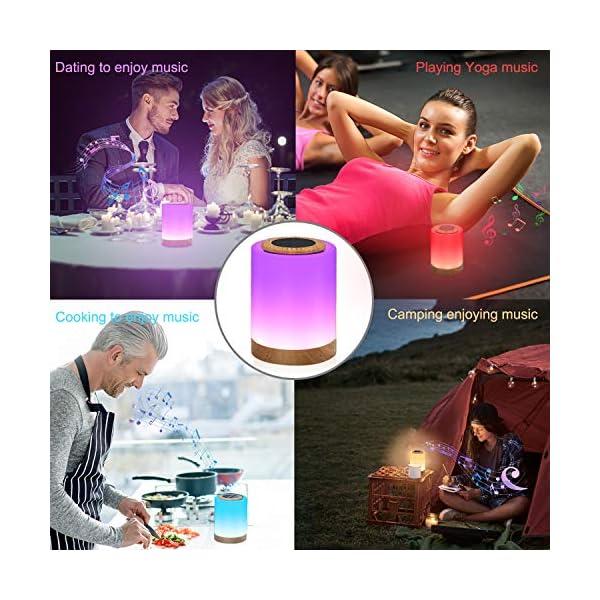 TAIPOW Lampe de Chevet LED Touch Portable avec Enceinte Bluetooth, Veilleuse Multicolore Disco Light Lecture de MP3 Support TF AUX-IN USB Rechargeable, Cadeau pour Adulte Ados Enfants Bébé 7