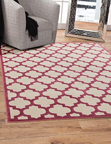 - Abacasa Sonoma Trellis Area Rug, 5-Feet 3-Inch by 7-Feet 6-Inch, Cranberry/Ivory