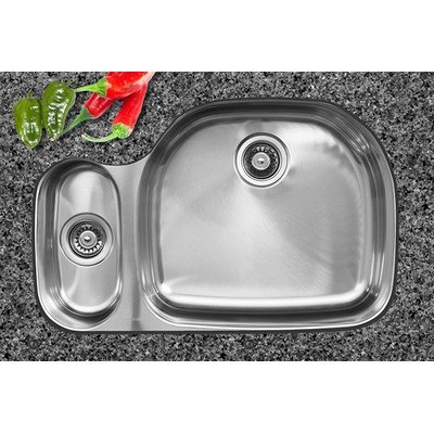 Ukinox D537.70.30.10R Modern Undermount Double Bowl Stainless Steel Kitchen Sink