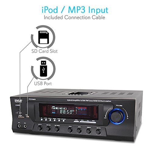 300W Digital Stereo Receiver System - AM/FM Qtz. Synthesized Tuner, USB/SD Card MP3 Player & Subwoofer Control, A/B Speaker, iPod/MP3 Input w/ Karaoke, Cable & Remote Sensor - PyleHome PT270AIU