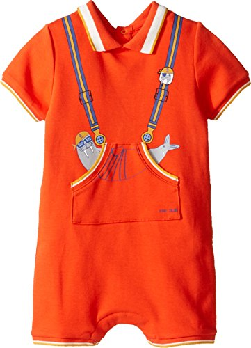 Price comparison product image Little Marc Jacobs Baby Boys Polo Style Romper with Cute Front Print Newborn,  Indu Orange