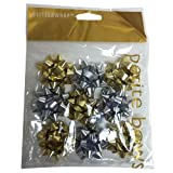 JAM Paper Gift Bows Bows - Super Tiny - 1 Inch Diameter - Gold & Silver - 9/pack