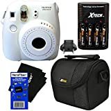 Fujifilm Instax Mini 8 Instant Film Camera (White) + 4 AA High Capacity Rechargeable Batteries with Battery Charger + Well Padded Camera Case + HeroFiber Ultra Gentle Cleaning Cloth