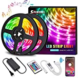 LED Strip Lights,SOLMORE LED Light Strips 32.8FT Wireless Music RGB Tape Lights 300 Lights Smart Phone App Controlled Rope Lights for Home Parties Birthday Bar Club Decoration