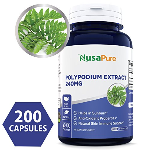 - Pure Polypodium Leucotomos Extract 240mg 200 Capsules (Non-GMO & Gluten Free) Helps in Sunburn, Antioxidant Properties, Natural Skin Immune Support - Made in USA - 100% Money Back Guarantee!
