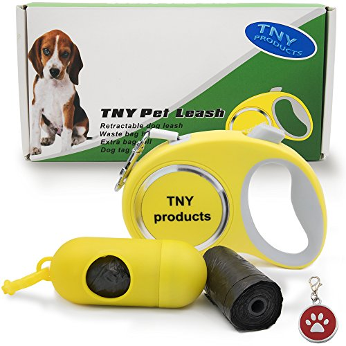 Retractable Dog Leash Small Breed Up To 44lb, 16ft Walking Tape, One Button Break&Lock, Tangle Free, Heavy Duty, Strong and Durable, Soft Hand Grip, Bag dispenser + 3 Rolls and An eBook Attached (Leash Mini Dog Retractable)