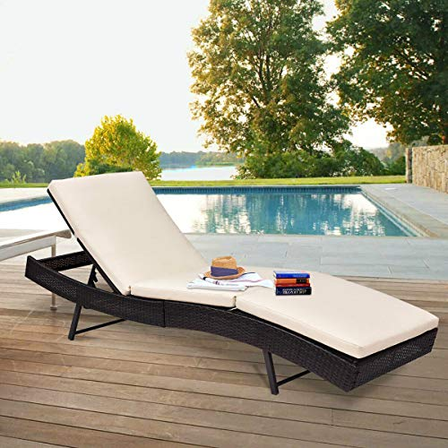 Tangkula Patio Reclining Chaise Lounge Outdoor Beach Pool Yard Porch Wicker Rattan Adjustable Backrest Lounger Chair (Small Without Wheel) by Tangkula (Image #3)