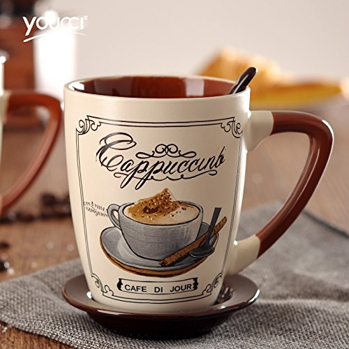 QTSHKK European contracted large coffee cup suit with cover with a spoon Creative personality mark cup glass ceramic cup