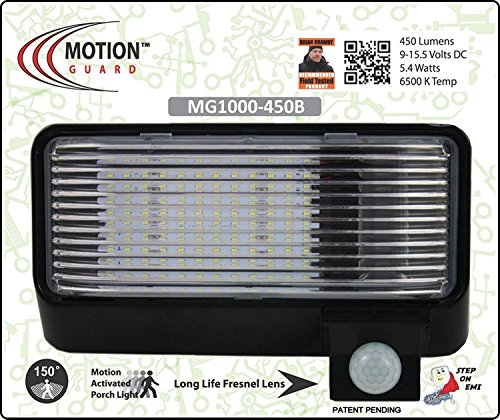 MG1000-450B, 12 Volt Exterior Motion RV LED Porch Light, RV Security Motion Porch Light, Black