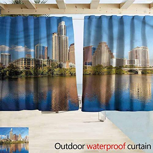 (Beihai1Sun Rod Pocket Top Blackout Curtains/Drapes USA Austin Texas Summertime View Simple Stylish Waterproof W55x39L Inches)