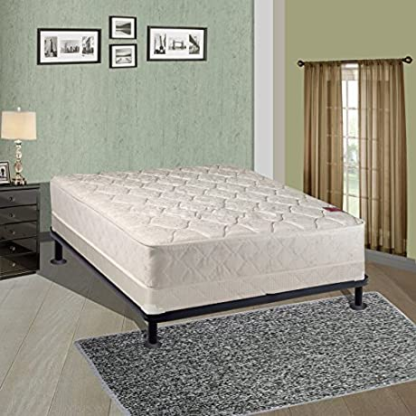 Spring Solution Mattress 9 Inch Fully Assembled Orthopedic Back Support Full Mattress And 5 Inch Box Spring With Bed Frame Hollywood Collection