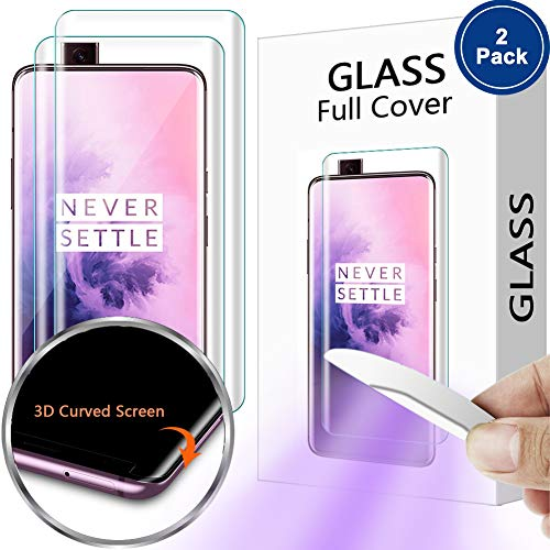 [2 Pack] PAZLOG Screen Protector for OnePlus 7 Pro, Tempered Glass 9H Hardness Full Curved Edge [Support Fingerprint Sensor] [Liquid Dispersion Tech] HD [Case Friendly] Lifetime Replacement Warranty