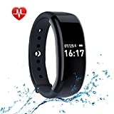 Sanwo Fitness Activity Tracker Watch, Bluetooth 4.0 Wireless Sweatproof Smart Band with Sleep Heart Rate Monitor Pedometer Sport Bracelet for Android and ios, Black