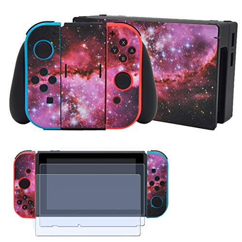 Taifond Skin Pink Sky Sticker for Nintendo Switch Full Set Faceplate Cover Decals for Girl with 2 Pcs Screen Protector(Console & Joy-con & Dock & Grip)