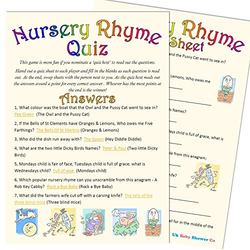 Baby Shower Game Nursery Rhyme Quiz 20 Guest Pack Amazon Co Uk