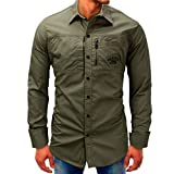 Hot Sale Mens Long Sleeve Shirts vermers New Men Fashion Casual Beefy Button Tops Basic Print Blouse Tee with Pocket(M, Army Green)