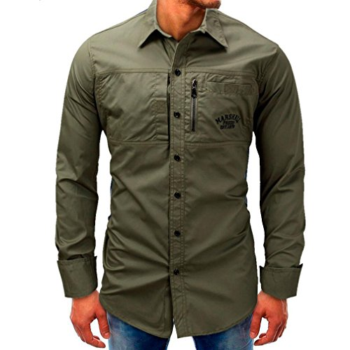 Hot Sale Mens Long Sleeve Shirts vermers New Men Fashion Casual Beefy Button Tops Basic Print Blouse Tee with Pocket(M, Army Green) by vermers