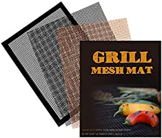 5 Pack Nonstick BBQ Grill Mesh Mat, Copper Grill Mats for Gas Grills Reusable Easy to Clean - PTFE Teflon Fiber Grill...