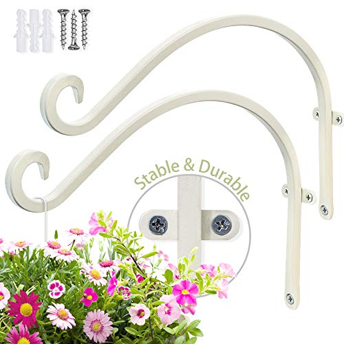 Hand Forged Hanging Plant Bracket (2 Pieces - 12 inch) More Stable Robust and Durable Cream-White Curved Hooks