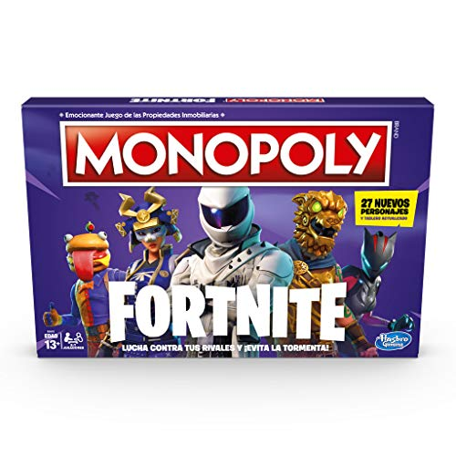51hdqeBs8fL. SS500 En esta edición del juego Monopoly basada en el popular videojuego Fortnite, no se trata de lo que los jugadores poseen, sino de cuánto tiempo sobreviven En este juego Monopoly, basado en el popular videojuego Fortnite, los jugadores se apoderan de lugares, luchan en contra de sus oponentes y evitan la tormenta para sobrevivir, el último jugador en pie gana La edición Fortnite del juego Monopoly presenta los lugares del videojuego como propiedades, además, los jugadores tienen el objetivo de ganar Puntos de Vida en vez de dinero Monopoly para mantenerse en el juego monopoly fortnite