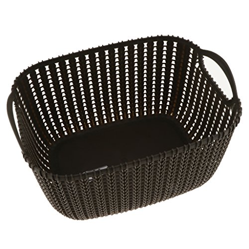 Homyl Weaving Rattan Plastic Storage Baskets/Bins Organizer with Handles, 3 Brown S ()