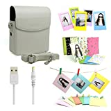 Fujifilm Instax Share Smartphone Printer Sp-1 Accessory Bundles Set(Included:White PU Leather Case Bag With Shoulder Strap/ Power Cable For Printer SP-1/ Colorful Decor Sticker Borders/ 3 inch Photo Frames/ Wall Decor Hanging Frames)