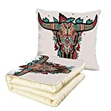 iPrint Quilt Dual-Use Pillow Western Buffalo Sugar Mexican Skull Colorful Ornate Design Horned Animal Trophy Decorative Multifunctional Air-Conditioning Quilt Turquoise Red Taupe