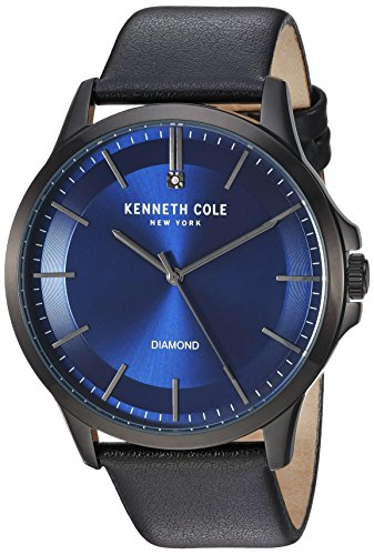 Kenneth Cole New York Male Stainless Steel Analog-Quartz Watch with Black Strap, Leather, 22 (Model: KC50208002)