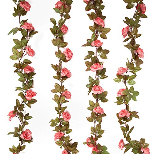 HEBE 4 Pack 17 Heads 7.2 Ft/pc Artificial Silk Rose Flowers Fake Rose Vine Garland Realistic Hanging Silk Rose Plants Wedding Home Party Arch Decor, Pink