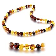 Choker Natural Unisex Raw Baltic Amber Teething Necklace for Babies Children Boys Girls Teethers, Drooling & Teething Pain Reduce Properties, Teething Pain Reduce and Anti Inflammatory (Multi)