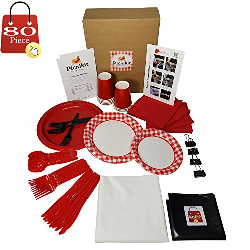 Picnic Kit Serves 8 (Gingham White) All You Need For Hassle Free Picnics 80 Piece Premium Includes Dinner, Appetizer Plates, Cups, Spoons, Forks, Knives, Napkins, Tableclips, Tablecover & Garbage Bag