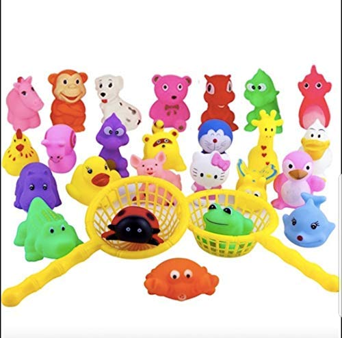 Stems Mixed (Cute Baby Bath Toys | Mixed Pack of Adorable Squeeze Animal Bathtub Toys for Babies and Toddlers | Rubber Infant Water Toys with Handy Fishing Baskets | 25 Colorful Animals Per Pack )