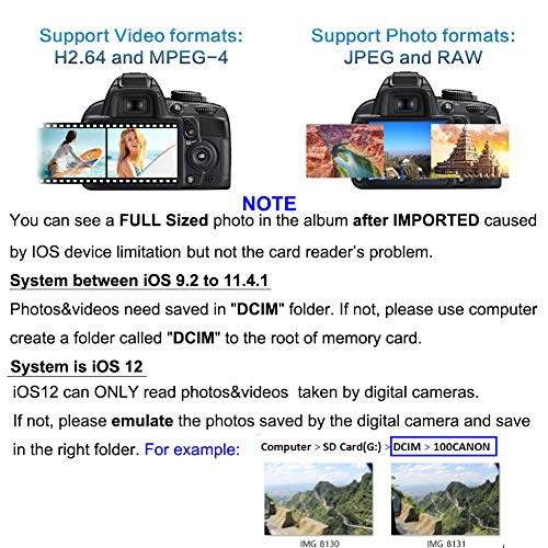 GOLDFOX SD Card Reader Compatible for iPhone iPad Upgraded SD Card Camera