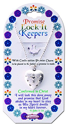 Confirmation Promise Lock It Keepers Heart Necklace With Dove Charm