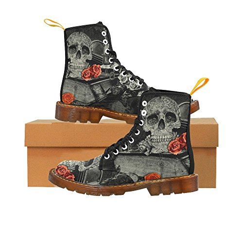 InterestPrint Martin Boots Steampunk Alchemist Mage Red Roses Celtic Skull Unique Designed Lace Up Boots For Women