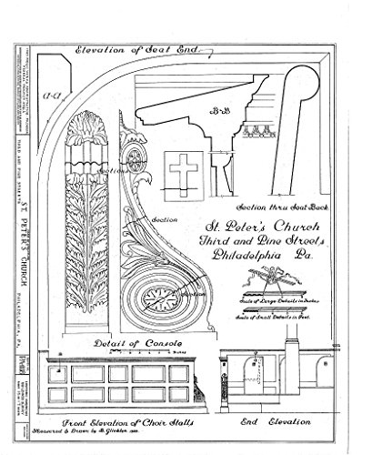 Structural Drawing Front Elevation of Choir Stalls; End Elevation; Details - St. Peter's Protestant Episcopal Church, Third & Pine Streets, Philadelphia, Philadelphia County, PA 44in x 55in