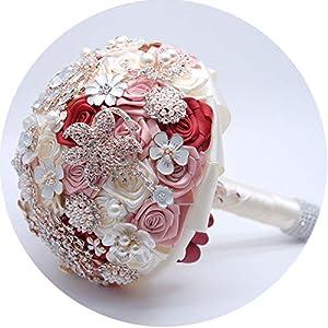 European & American Crystal Pearl Ribbon Enamel Wedding Bouquets Bridesmaid Bridal Handwork Wedding Bouquet Flower 40