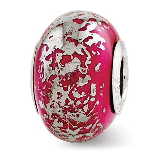 (Sterling Silver Polished Antique finish Reflection Dark Pink With Platinum Foil Ceramic Bead Charm)
