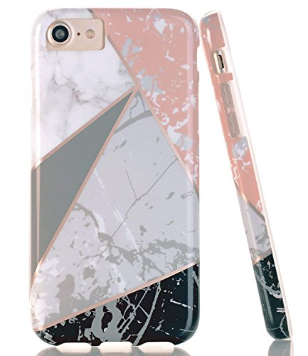 BAISRKE Shiny Rose Gold Lines Black Marble Geometric Case Slim Soft TPU Rubber Bumper Silicone Protective Phone Case Cover Compatible with iPhone 8 / iPhone 7 / iPhone 6 6s [4.7 inch]