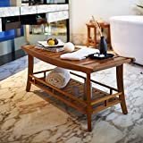 Cambridge-Casual AMZ-250383T Estate Teak Spa/Shower Large Stool, Medium Brown