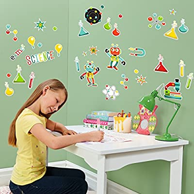 BirthdayExpress Learning Science Robots Room Decorations Vinyl Wall Graphic Decal